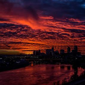 Fire sky. by Anthony Martinez - City,  Street & Park  Skylines ( skyline, sunset, mississippi river, saint paul )