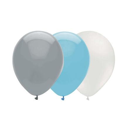 Ballongkombo Babyblå - Grå - Vit