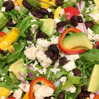 Peppery Greens with Mango, Black Beans,Avocado and Honey Chili Vinaigrette Recipe