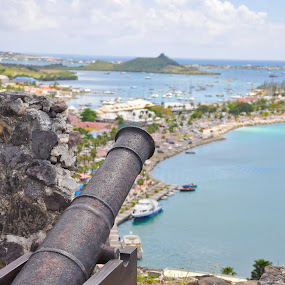 Guns of Fort Louis by Dave Reece - Landscapes Waterscapes ( fort louis, marigot, st martin )