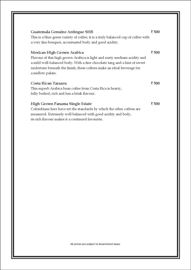 Sea Lounge - The Taj Mahal Palace menu 1