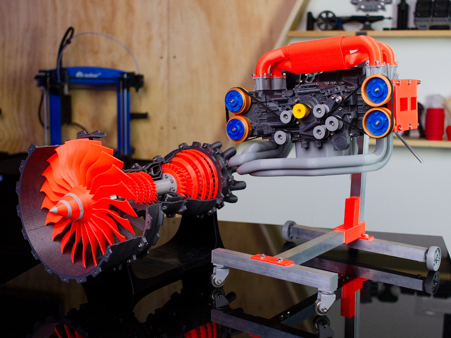 A 3D printed jet engine and 3D printed Subaru engine using Fillamentum Vertigo Grey and Luminous orange to have some vibrant contrast in the printed parts.