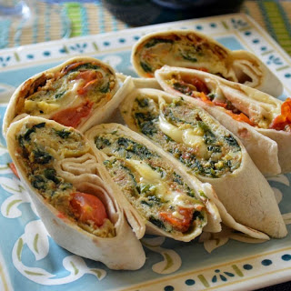 Savory Egg Wrap with Spinach, Cherry Tomato and Fresh Mozzarella Omelette