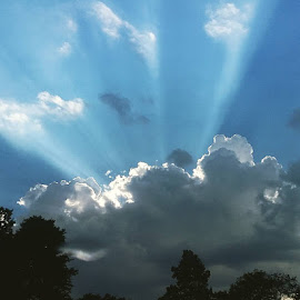 Sun Rays Through the Clouds by Susan R Thomas - Landscapes Cloud Formations
