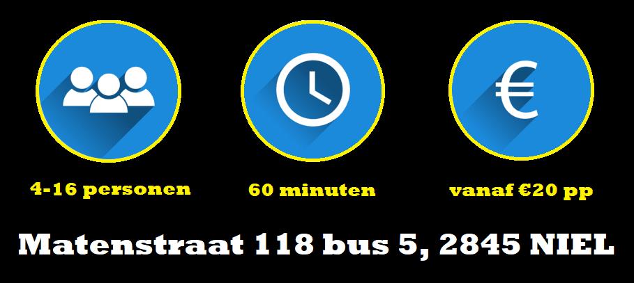 Adres van Escape Room Vlaanderen Niel is Matenstraat 118 bus 5 in 2845 Niel