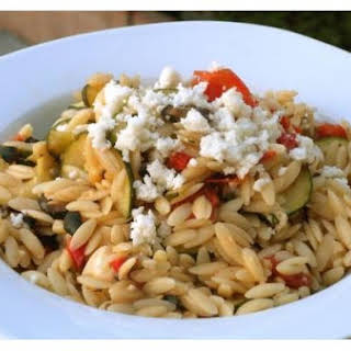Orzo With Cherry Tomatoes, Zucchini and Queso Fresco.