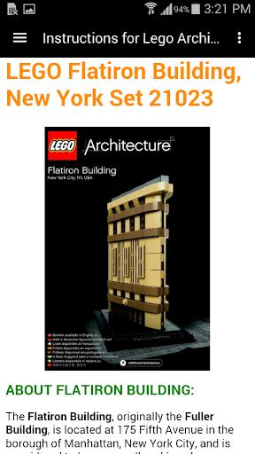 Instructions Lego Architecture