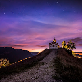 Last light of the day by Evgeni Ivanov - Landscapes Mountains & Hills ( mountain, church, colorful, cloudscape, canvas, rhodope mountain, chapel, travel, landscape, nightscape, nature, night photography, vibrant color, sunset, outdoor, background, sunrise, light, bulgaria )