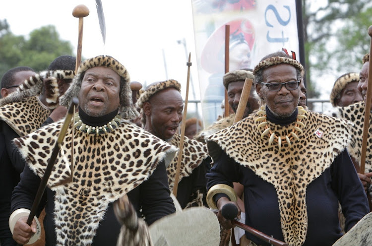 King Goodwill Zwelithini and Prince Mangosuthu Buthelezi wearing traditional regalia at Shaka's day in KwaDukuza, in 2012. Picture: THULI DLAMINI/SUNDAY TIMES