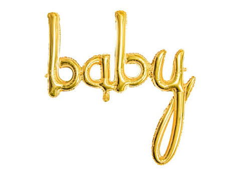 Folieballong - baby guld