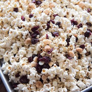 White Chocolate, Cranberry and Macadamia Popcorn Snack Mix