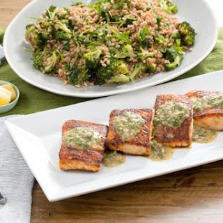 Seared Salmon with Roasted Broccoli & Farro Salad