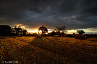 Photo: Good Morning Googlers.  I have just finished my first night shift and on the way home I stopped off to get a few landscapes of the last few days we have of summer.  This image was taken less than an hour ago on a local farm I pass back and forward on the way to work. I had to try and time it right as it was trying to rain, (it eventually did) I wanted to get the sun behind the tree, it was a one shot or nothing.  About a minute after this was taken the heavens opened!  I am about to go to bed as I am on nights again tonight but I will go through my notifications later, goodnight/good morning G+ :)