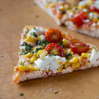 Cherry Tomato, Corn, and Goat Cheese Pizza.