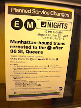 "Photo: En route to gay pride festivities, E train, Queens, 26 June 2011. (Photograph by Elyaqim Mosheh Adam.)  ""Planned service changes."" MTA notice."
