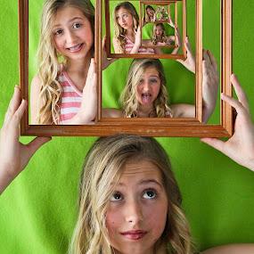 Wacky Frames by Caitlin Scroggins - Babies & Children Child Portraits ( child, sister, canon, model, 7d, unique, creative, color, youth, tamron, canon 7d, portrait )