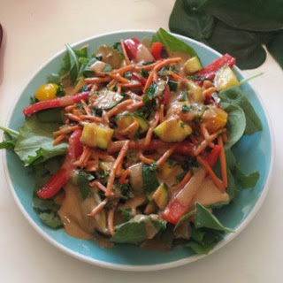 Stir-fry Spring Roll Salad with Spicy peanut dressing