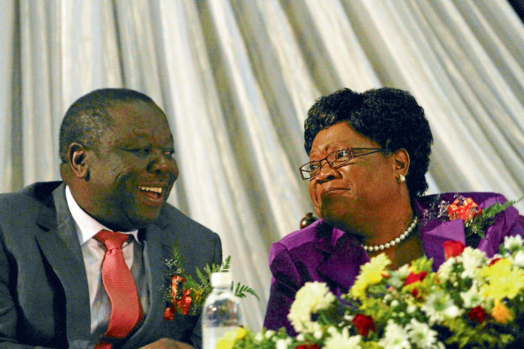 Unlikely to be so friendly come election time: Morgan Tsvangirai and Joice Mujuru.