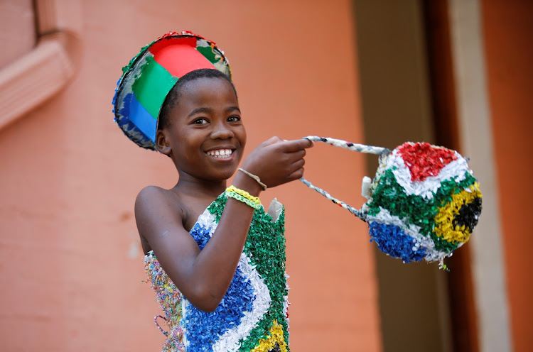 One of the participants of a 'trashion show'a t the Howick Agricultural Hall in KZN on Saturday.