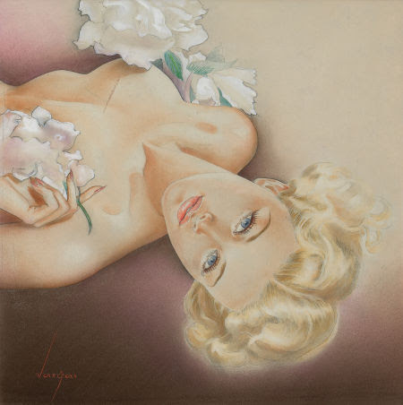 "Photo: Alberto Vargas Glamour Pin-Up, circa 1940s Watercolor and pencil on board 11.5"" x 11.5"" http://fineart.ha.com/c/item.zx?saleNo=5087&lotNo=78234"