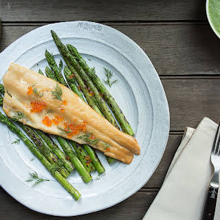 Smoked Trout with Grilled Asparagus-Dill Sauce.