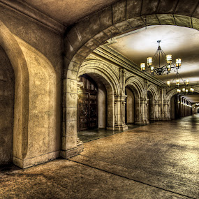 Endless Hallway by Robby Ticknor - Buildings & Architecture Public & Historical ( lights, hall, hallways, hdr, arch, texture, endless, night, angle )