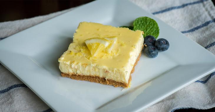 Low-Fat Lemon Cheesecake Bars Recipe | Yummly