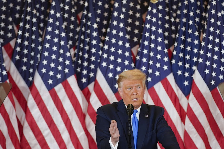 US President Donald Trump speaks during an election night party in the East Room of the White House in Washington, the US, on November 4 2020. Picture: BLOOMBERG/AL DRAGO