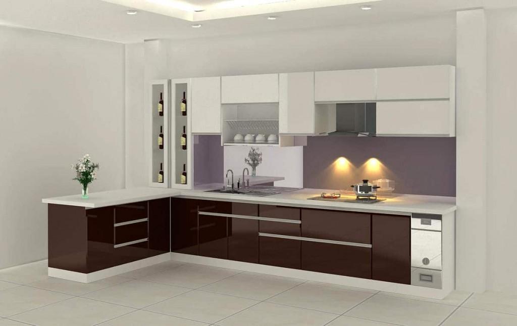Tủ bếp inox acrylic được ưa chuộng vì độ sáng bóng, gọn gàng