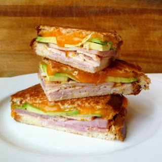 Ham, Colby, and Avocado Sandwich.
