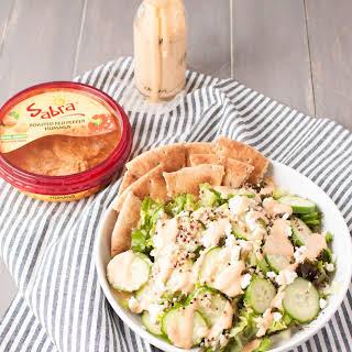 Greek Salad with Simple Hummus Dressing.