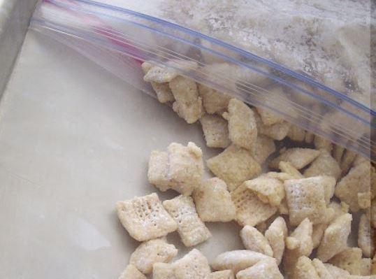 Add powdered sugar. Seal bag; shake until well coated.