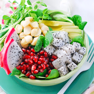 Salad of Dragon Fruit, Pomegranate & Macadamia with Creamy Mint & Lime Dressing
