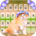 Floral Cute Cat Keyboard Background icon