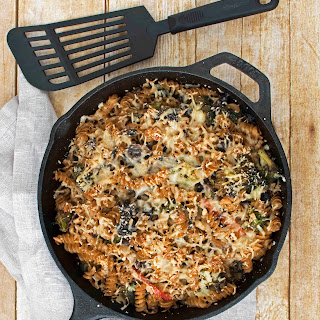 Baked Wheat Pasta with Mushrooms, Broccoli and Bell Peppers.