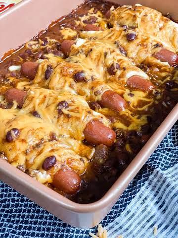 Skinny Chili Cheese Dog Casserole
