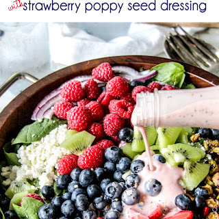 Berry Feta Spinach Salad with Creamy Strawberry Poppy Seed Dressing.