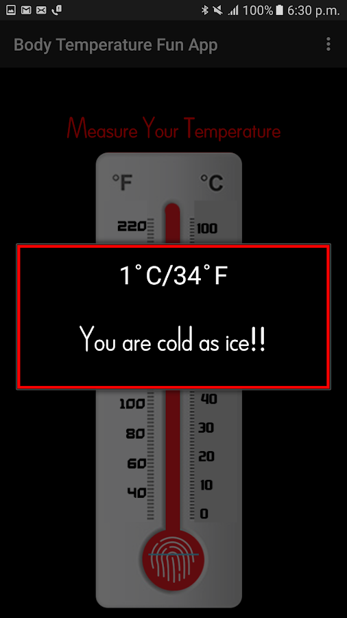 Body Temperature Fun App- screenshot