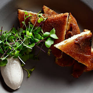 Chicken Liver Toasts with Date Jam and Herb Salad.