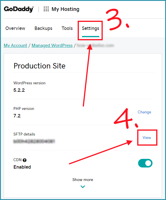 Settings of your Managed wordpress site