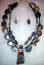 Photo: FATA MORGANA - МІРАЖ - copper enamel pendant, shell, garnets, freshwater pearls, rose gold vermеil hook clasp/beads/lever backs SOLD/ПРОДАНИЙ