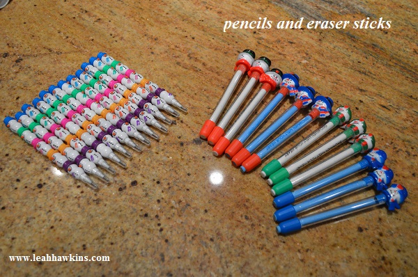pencils and eraser sticks for the holiday party