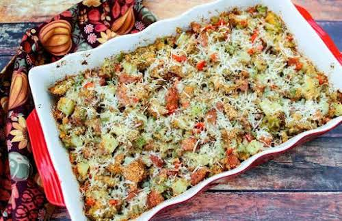 """Sausage and Potato Stuffing """"Not only will this flavorful stuffing compliment your..."""