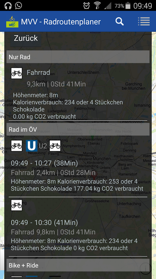 MVV-Radroutenplaner – Screenshot