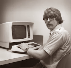 Photo: Mystery Image #31, unidentified RPI grad student at a Courier 3270 display terminal, probably in Amos Eaton, c. 1980