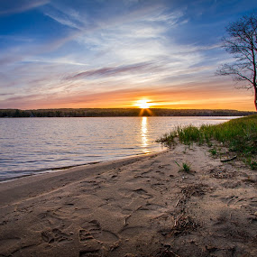 Taking it All IN by Hamish Carpenter - Landscapes Beaches ( orange, sand, michigan, otsego lake, blue sky, blue, colors, sunset, long exposure, beach, travel, beachscape )