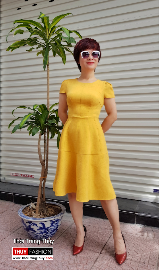 Váy xòe công sở dạo phố màu vàng cam V699 thời trang thủy thái bình