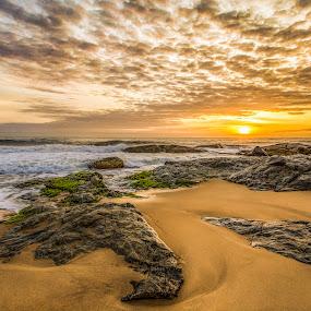 Sunrise in Estaleiro Beach by Rqserra Henrique - Landscapes Beaches ( clouds, brazil, rqserra, colorfull, beach, sunrise, landscape, rocks )