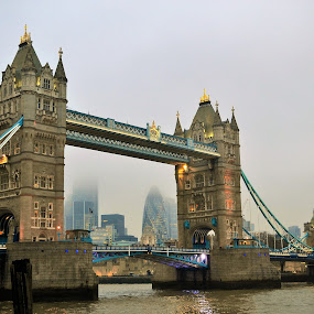 Ponte di Londra by Francesco Benettolo - Buildings & Architecture Bridges & Suspended Structures ( ponte, londra, nebbia, tower bridge, panorama londinese )