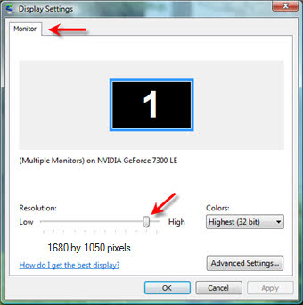 Adjust native resolution in Windows Vista